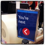 Tesco also have a rather sinisterly threatening approach to queue control.