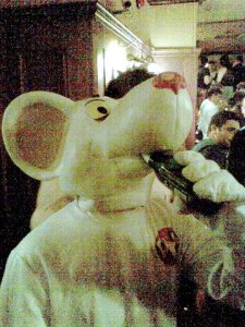 Danger Mouse drinking a beer